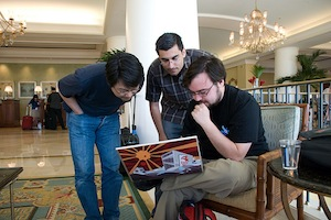 Matz, Yehuda Katz and Matt Aimonetti during RubyConf 2008