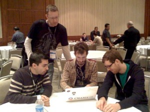 Matt Aimonetti - Nick Sieger (JRuby), Chris Anderson (CouchDB) and Jan Lehnardt (CouchDB) during QConf