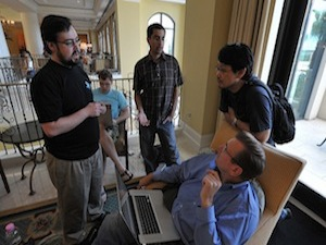 Yehuda Katz, Matt Aimonetti, Jim Freeze and Matz during RubyConf 2008 photo by Obie Fernandez