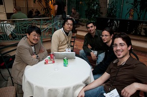 Matt Aimonetti with Matz, Koichi Sasada, Laurent Sansonetti, Jimmy Schementi during RubyConf 2009
